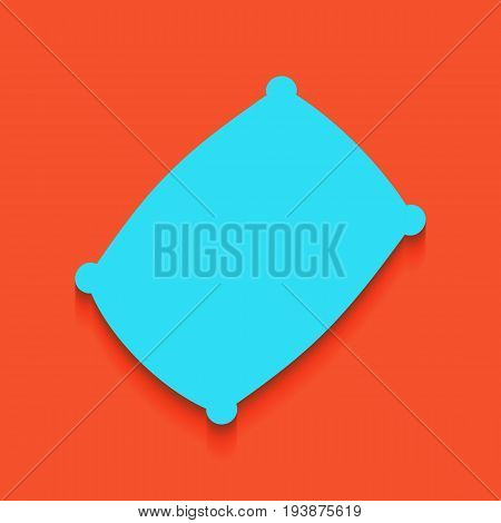 Pillow sign illustration. Vector. Whitish icon on brick wall as background.