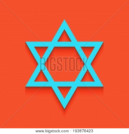 Shield Magen David Star. Symbol of Israel. Vector. Whitish icon on brick wall as background.