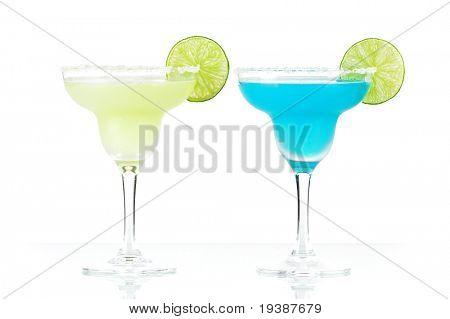 Classic margarita and blue margarita alcohol cocktails isolated on white background
