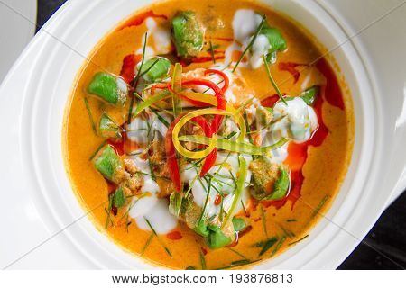 Thai food curry soup with meat and vegetable