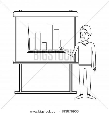 monochrome silhouette of businessman in formal clothes with hairstyle side fringe making presentation vector illustration