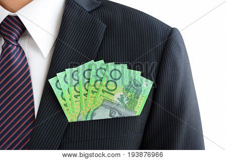 MoneyAustralian dollar (AUD) banknotes in businessman suit pocket