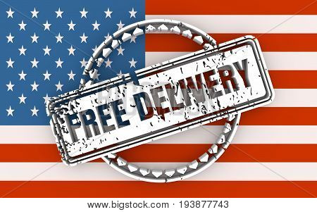 Distressed stamp icon. Graphic design elements. 3D rendering. Free delivery text. Flag of the USA