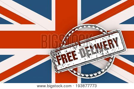 Distressed stamp icon. Graphic design elements. 3D rendering. Free delivery text. Flag of the Britain