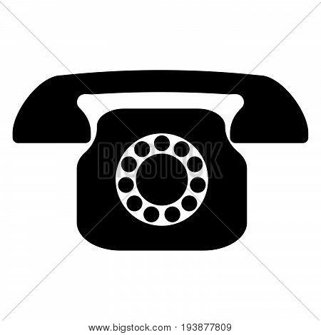 Retro Telephone The Black Color Icon .