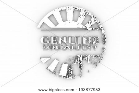 Stamp icon. Graphic design elements. 3D rendering. Genuine quality text