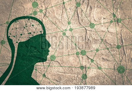 Silhouette of a man's head. Mental health relative brochure, report design template. Scientific medical designs. Connected lines with dots. Grunge distress texture.
