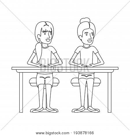 monochrome silhouette of women sitting in desk one with collected hair and the other with ponytail hairstyle vector illustration