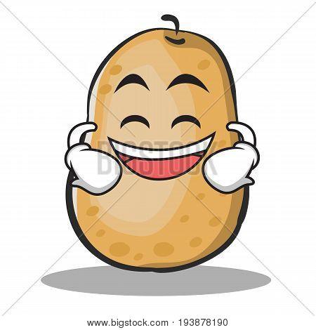 Grinning potato character cartoon style vector illustration