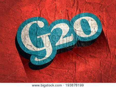 G and 20 Letter and Number joint logo 3D icon. Isometric text with long gradient shadows. Calligraphy vintage retro lettering. Grunge distress texture.