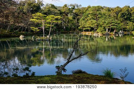 Zen Garden With The Lake In Kyoto, Japan