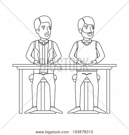 monochrome silhouette of men sitting in desk one with casual clothes and beard and the other with formal suit and necktie vector illustration