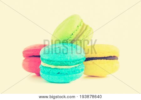 Macarons French confection in vintage tone - colorful food and dessert concept