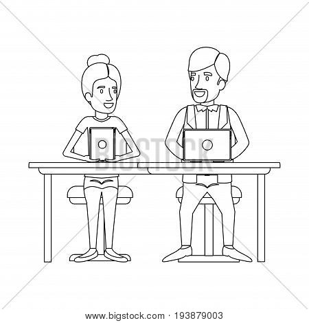 monochrome silhouette of teamwork of woman and man sitting in desk with tech devices and her with collected hair and him in casual clothes with van dyke beard vector illustration