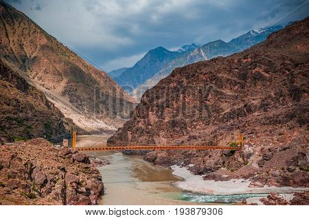Confluence of Kondia and Indus rivers, Gilgit-Baltistan, Pakistan
