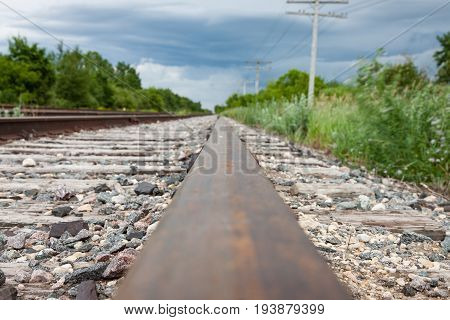 Closeup of Rail and Track in Canadian Prairies