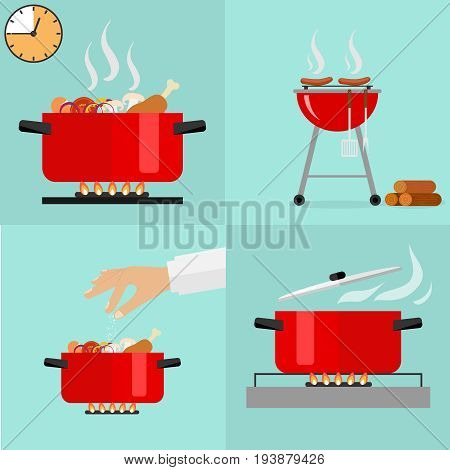 Hot pan isolated saucepan on the stove pan icon cook. Barbecue grill hot dogs picnic wood sausages. Flat design vector illustration vector.
