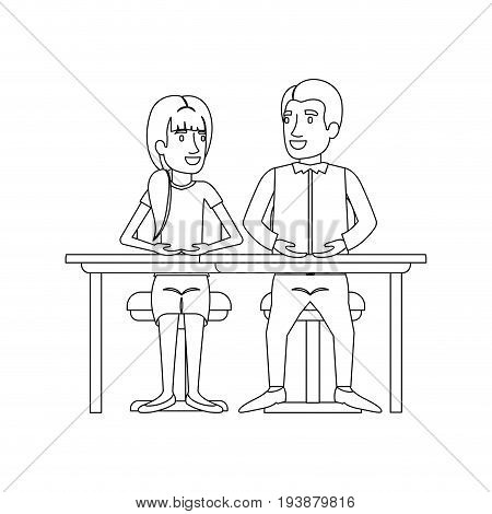 monochrome silhouette of teamwork of woman and man sitting in desk and her with ponytail hairstyle and him in casual clothes vector illustration