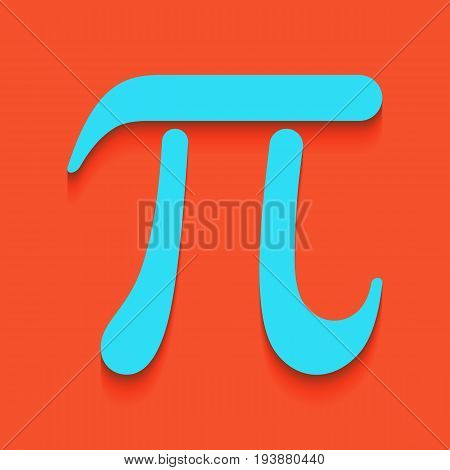 Pi greek letter sign. Vector. Whitish icon on brick wall as background.