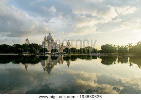 Beautiful  Victoria Memorial, Kolkata , West Bengal, India, at the time of Sunset.