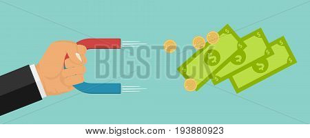 A hand with a magnet attracts money. Magnet in the hand. Flat design vector illustration vector.
