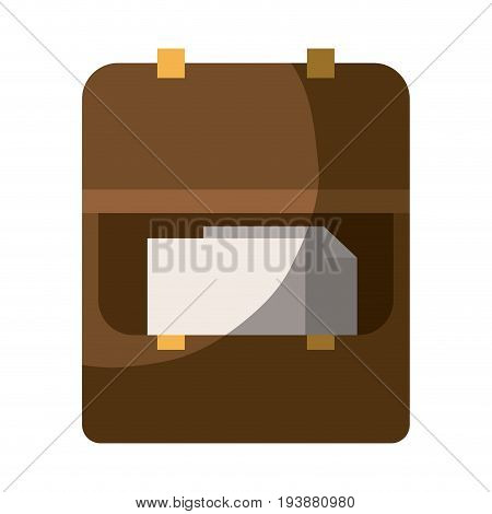 colorful silhouette of opened executive briefcase with documents and half shadow vector illustration