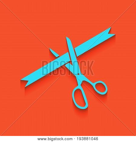 Ceremony ribbon cut sign. Vector. Whitish icon on brick wall as background.