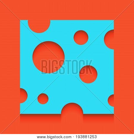 Cheese slice sign. Vector. Whitish icon on brick wall as background.