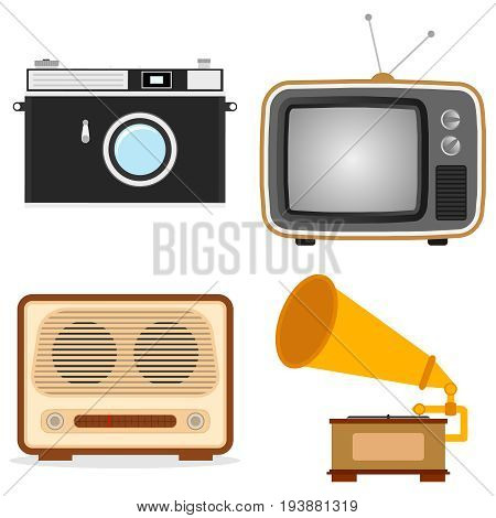 Retro technique. Old TV camera radio gramophone. Flat design vector illustration vector.