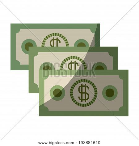 colorful silhouette of money bills set with half shadow vector illustration