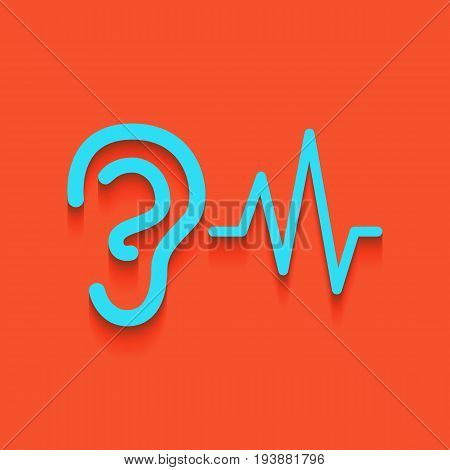 Ear hearing sound sign. Vector. Whitish icon on brick wall as background.