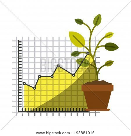 colorful silhouette of growing and financial risk graphic and plant in closeup with half shadow vector illustration