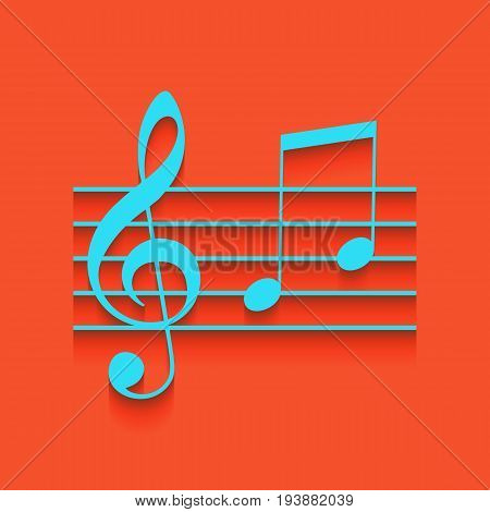 Music violin clef sign. G-clef and notes G, H. Vector. Whitish icon on brick wall as background.