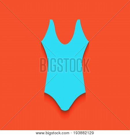 Woman's swimsuit sign. Vector. Whitish icon on brick wall as background.