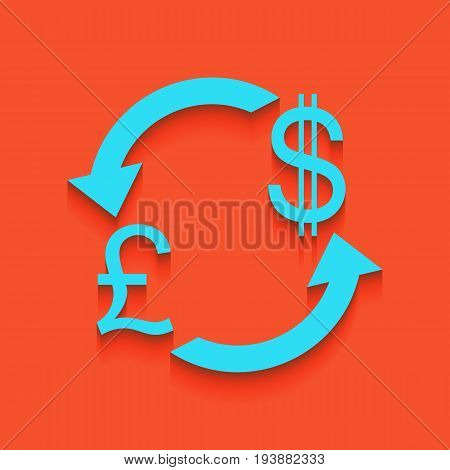 Currency exchange sign. UK: Pound and US Dollar. Vector. Whitish icon on brick wall as background.