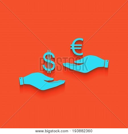 Currency exchange from hand to hand. Dollar adn Euro. Vector. Whitish icon on brick wall as background.