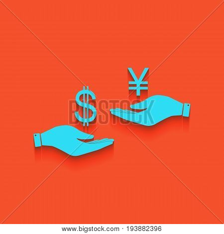Currency exchange from hand to hand. Dollar and Yen. Vector. Whitish icon on brick wall as background.