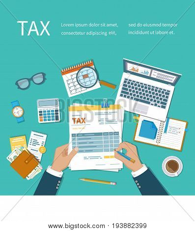 Tax calculation payment concept. Man fills the form of taxation. Forms, documents, wallet, credit cards, calculator, coffee, glasses, laptop, calendar, magnifier, watch. Vector illustration background