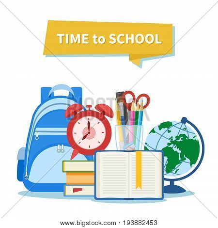 Time to school. Education and learning concept. School equipment. Open book with a bookmark, alarm clock, pile of books, backpack, supplies, stationery set, globe, scissors, pens, pencils, ruler.