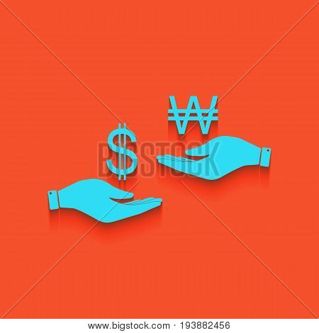 Currency exchange from hand to hand. Dollar and South Korea Won. Vector. Whitish icon on brick wall as background.