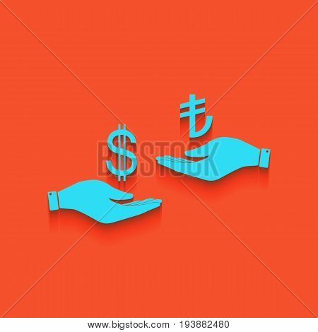 Currency exchange from hand to hand. Dollar and Turkey Lira. Vector. Whitish icon on brick wall as background.