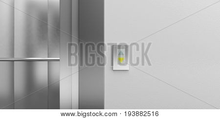 Elevator Button Showing Down Direction. 3D Illustration