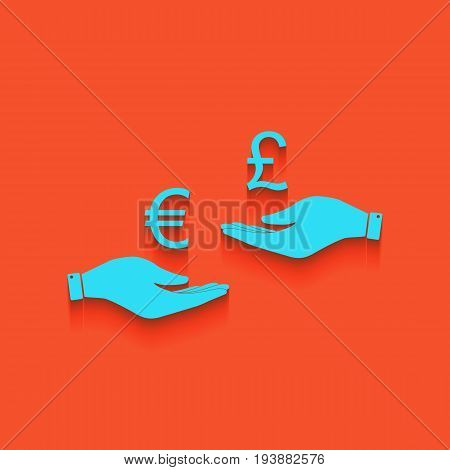 Currency exchange from hand to hand. Euro and Pound. Vector. Whitish icon on brick wall as background.