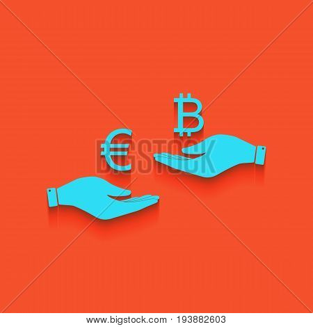 Currency exchange from hand to hand. Euro an Bitcoin. Vector. Whitish icon on brick wall as background.