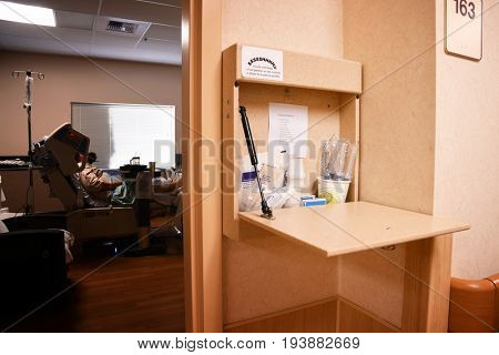 Supply station for nurses outside a hospital room