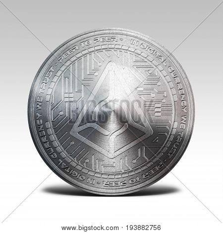 silver argus coin isolated on white background 3d rendering illustration
