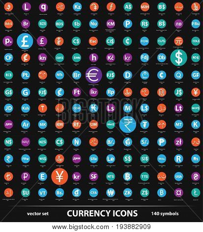 vector set of the isolated currency icons
