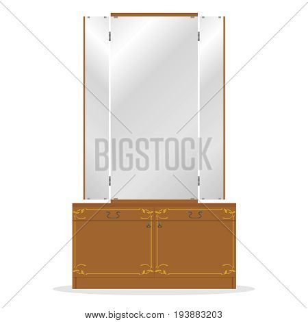 Retro dressing table old dressing table mirror. Retro furniture. Flat design vector illustration vector.