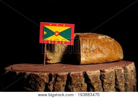 Grenada Flag On A Stump With Bread Isolated