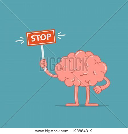 Cartoon character brain holding a stop sign. Concept design the brain disagree. Vector illustration in flat style.